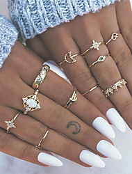 cheap -Women's Nail Finger Ring Ring Set Midi Ring Opal 13pcs Gold Alloy Round Geometric Bohemian Fashion Boho Party Gift Jewelry Vintage Style Heart Flower Crown Cool Lovely