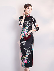 cheap -Adults Women's Chinese Style Chinese Style Cheongsam Qipao For Club Uniforms Poly / Cotton Blend Midi Cheongsam
