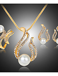cheap -Women's Clear AAA Cubic Zirconia Bridal Jewelry Sets Chandelier Love Cute Elegant Imitation Pearl Earrings Jewelry Gold For Party Daily 1 set