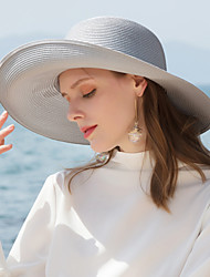 cheap -Polyester Straw Hats with Solid 1pc Casual / Daily Wear Headpiece