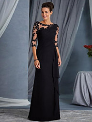 cheap -Sheath / Column Elegant Black Wedding Guest Formal Evening Dress Jewel Neck Half Sleeve Floor Length Lace with Appliques 2020