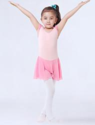 Недорогие -Детская одежда для танцев Балет трико / Комбинезон-пижама Рюши / сборки Комбинация материалов Девочки Учебный Выступление Ремешки Мерсеризованный хлопок Эластичная пряжа Искусственный шёлк