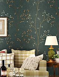 cheap -Wallpaper Nonwoven Wall Covering - Adhesive required Trees / Leaves