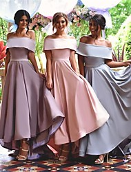 cheap -A-Line Off Shoulder Asymmetrical Satin Bridesmaid Dress with Sash / Ribbon / High Low