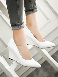 cheap -Women's Heels Sexy Shoes Wedge Heel Pointed Toe Mesh / PU(Polyurethane) Sweet / Minimalism Spring &  Fall / Spring & Summer White / Wedding / Party & Evening