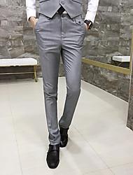 abordables -Homme Basique Costume / Chino Pantalon - Ecossais / à Carreaux Noir Vin Violet M L XL