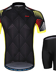 cheap -Arsuxeo Men's Short Sleeves Cycling Jersey with Shorts Black Argyle Bike Clothing Suit 3D Pad Moisture Wicking Sports Argyle Mountain Bike MTB Road Bike Cycling Clothing Apparel / Micro-elastic