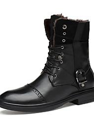 Недорогие -Муж. Кожаные ботинки Наппа Leather Зима На каждый день / Английский Ботинки Для прогулок Сохраняет тепло Сапоги до середины икры Черный / на открытом воздухе / Офис и карьера / Зимние сапоги