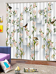 cheap -3D Digital Printing Custom Pastoral Style Polyester Privacy Two Panels Curtain for Garden  Bedroom Curtains