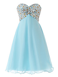 cheap -A-Line Sweetheart Neckline Short / Mini Chiffon Cute Cocktail Party Dress with Beading 2020