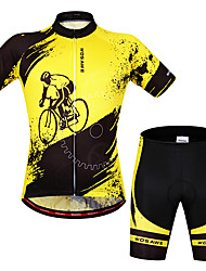 cheap -WOSAWE Men's Women's Short Sleeve Cycling Jersey with Shorts Yellow / Black Bike Jersey Clothing Suit Breathable 3D Pad Moisture Wicking Quick Dry Anatomic Design Sports Silicone Elastane Painting