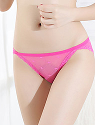 cheap -Women's Lace / Mesh Briefs - Normal Low Waist Black White Blushing Pink One-Size L XL