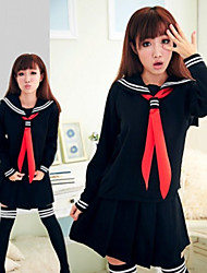 cheap -Student / School Uniform Skirt Cosplay Costume Outfits Women's Movie Cosplay Cosplay Halloween Black Cravat Top Skirt Christmas Halloween Carnival Polyster