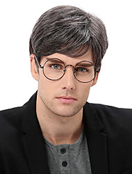 cheap -Synthetic Wig Toupees Straight Wavy Side Part Wig Short Grey Synthetic Hair 10 inch Men's Heat Resistant Classic Synthetic Gray