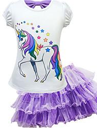 cheap -Kids Girls' Skirt Clothing Set Horse Unicorn Cartoon Short Sleeve Two-piece Suit Bow Causal Purple Blushing Pink Fuchsia Basic