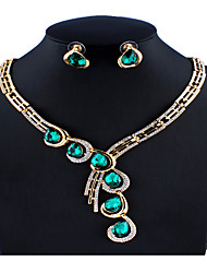 cheap -Women's Blue Green Red Bridal Jewelry Sets Link / Chain Drop Vintage Elegant Colorful Rhinestone Earrings Jewelry Red / Green / Blue For Christmas Wedding Party Engagement Gift 1 set