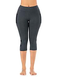 cheap -Women's High Waist Yoga Pants Capri Leggings Butt Lift Dark Grey Mesh Gym Workout Running Fitness Plus Size Sports Activewear Stretchy