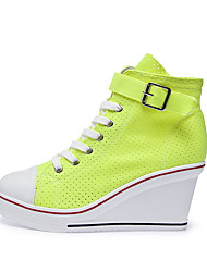 cheap -Women's Sneakers Sexy Shoes Light Soles Spring & Summer Wedge Heel Round Toe Casual Minimalism Daily Office & Career Solid Colored Mesh White / Black / Red