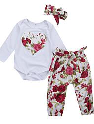 cheap -Baby Girls' Active / Basic Floral Long Sleeve Short Clothing Set White