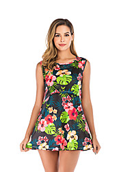 cheap -Women's Above Knee Maternity Green Blue Dress A Line Floral Geometric S M