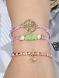 cheap -3pcs Women's Vintage Bracelet Earrings / Bracelet Pendant Bracelet Layered Tree of Life Bee Simple Classic Vintage Ethnic Fashion Cord Bracelet Jewelry Purple For Daily School Street Holiday Festival