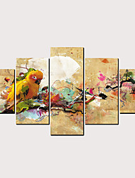 cheap -Print Rolled Canvas Prints - Abstract Birds Classic Modern Five Panels Art Prints