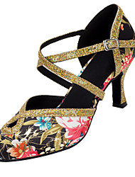 cheap -Women's Modern Shoes / Ballroom Shoes Satin Ankle Strap Heel Flower Flared Heel Customizable Dance Shoes Gold / Performance