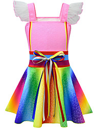 cheap -Kids Girls' Cute Street chic Rainbow Patchwork Patchwork Sleeveless Knee-length Dress Blushing Pink
