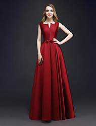 cheap -A-Line V Wire Floor Length Satin Elegant / Minimalist Formal Evening Dress 2020 with
