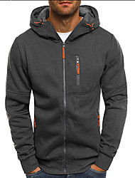 cheap -Men's Hoodie Jacket 3D Solid Colored Hooded Casual Hoodies Sweatshirts  Black Dark Gray