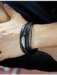 Недорогие -Муж. Кожаные браслеты Loom браслет Плетение Перо Массивный Стиль Панк модный Камни Титановая сталь Браслет Ювелирные изделия Черный / Серебряный Назначение