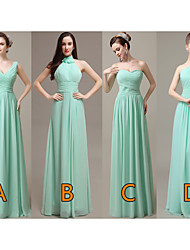 cheap -A-Line One Shoulder / Sweetheart Neckline Floor Length Chiffon Bridesmaid Dress with Ruching