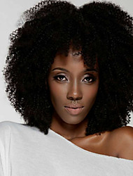 cheap -Human Hair Lace Front Wig Middle Part style Brazilian Hair Afro Curly Black Wig 130% Density Women Women's Short Others Clytie