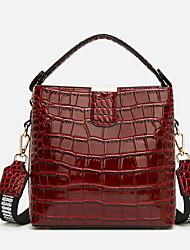 cheap -Women's PU Top Handle Bag Solid Color Black / Brown / Wine