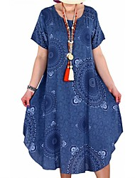 cheap -Women's Plus Size Tunic Dress - Short Sleeve Tribal Print Summer Casual Loose White Black Blue Red Yellow Blushing Pink Orange S M L XL XXL XXXL XXXXL XXXXXL