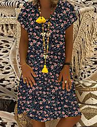 Недорогие -Жен. Элегантный стиль Футболка Платье - Геометрический принт, Пэчворк С принтом Средней длины