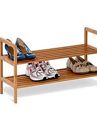 Недорогие -2-х уровневая бамбуковая полка для обуви - вмещает от 6 до 8 пар обуви