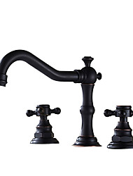 cheap -Bathroom Sink Faucet - Widespread Antique Copper / Black Widespread Two Handles Three HolesBath Taps