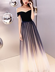 cheap -A-Line Off Shoulder Floor Length Satin / Tulle / Velvet Color Block / Black Prom / Formal Evening Dress with Pleats 2020