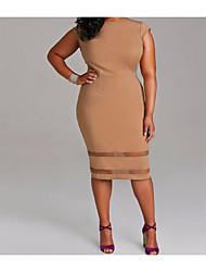 cheap -Women's Plus Size Going out Sheath Dress - Solid Colored White Summer White Black Khaki XXXL XXXXL XXXXXL / Slim