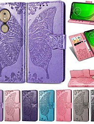 cheap -Case For Motorola MOTO P40 / MOTO One Vision / Moto G7 Wallet / Card Holder / Shockproof Full Body Cases Solid Colored / Butterfly Hard PU Leather