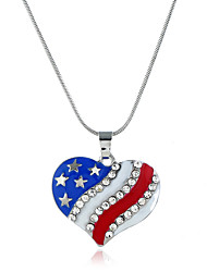 cheap -Women's Cubic Zirconia Pendant Necklace Classic American flag Heart Flag Patriotic Jewelry European Trendy Sweet Fashion Chrome Silver 40+5 cm Necklace Jewelry 1pc For Daily Street Holiday Festival