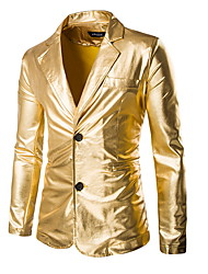 cheap -Gold / Black / Silver Solid Colored Standard Fit Polyester Suit - Notch Single Breasted Two-buttons