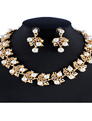 cheap -Women's White Bridal Jewelry Sets Link / Chain Floral Theme Fashion Cute Elegant Imitation Pearl Rhinestone Earrings Jewelry Gold For Wedding Party Engagement Gift 1 set