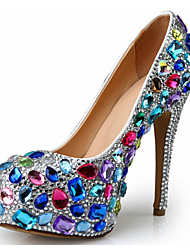 cheap -Women's Heels Stiletto Heel Rhinestone / Beading Synthetics British / Minimalism Spring &  Fall / Fall & Winter Red / Blue / Wedding / Party & Evening / Party & Evening