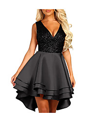cheap -Women's Kentucky Derby Blushing Pink Black Dress Elegant Summer Cocktail Party Prom A Line Color Block Deep V Ruffle Patchwork S M Skinny High Waist / Sexy