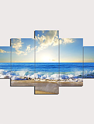 cheap -Print Stretched Canvas Prints - Landscape Traditional Modern Five Panels Art Prints