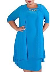 cheap -Women's Basic Sheath Dress - Solid Colored Blue Fuchsia Light Blue XXXL XXXXL XXXXXL