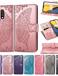 cheap -Case For OnePlus One Plus 7 / One Plus 7 Pro Wallet / Card Holder / Shockproof Full Body Cases Solid Colored / Butterfly Hard PU Leather
