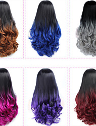 cheap -Synthetic Wig Curly Middle Part Wig Burgundy Long Grey Black / Burgundy Black / Rose Black / Purple Black / Brown Synthetic Hair 26 inch Women's Party Women Synthetic Burgundy Purple
